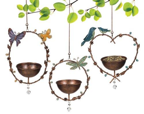 Grasslands Road Hanging Metal Bird Feeder Assortment, 20-Inch, Bronze, 3-Pack