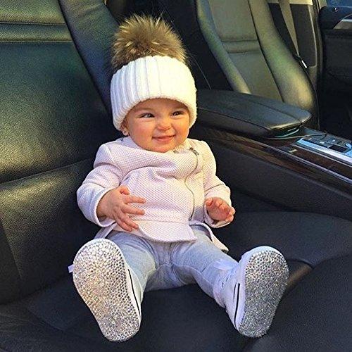 Baby Boys Girls Winter Knit Beanie Raccoon Fur Pom Bobble Hat Crochet Ski Cap (white)