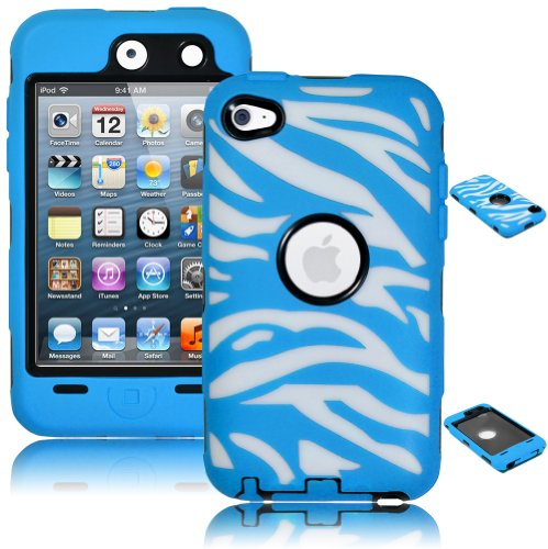 Bastex Heavy Duty Hybrid Case For Touch 4, 4Th Generation Ipod Touch - White Zebra With Blue front-465398
