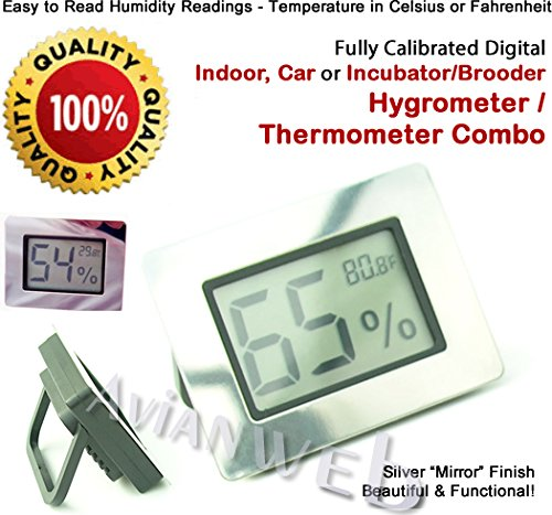 Compact Silver Digital Hygrometer and Thermometer (Celsius and Fahrenheit switchable) with a beautiful mirror finish - 1