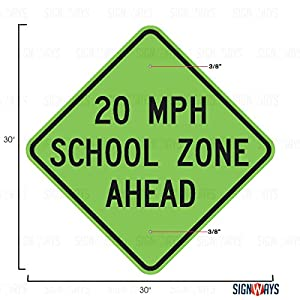 School Speed Limit 20 Ahead Sign, School Speed Signs, S4-5a, 30