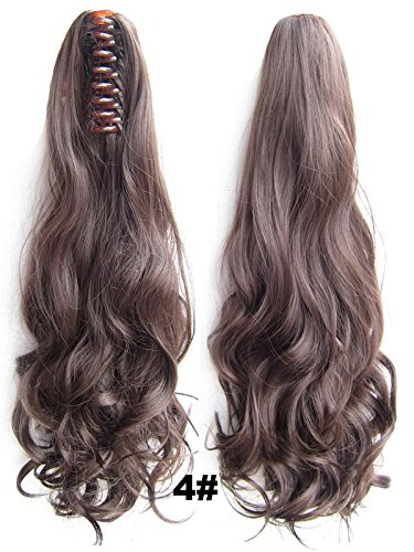 "A.H Fashion Girl'S 22"" Medium Brown #4 Natural Long Wigs Hair Extensions Clip Claw Ponytail 170G"