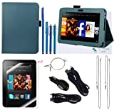The Friendly Swede (TM) PU Leather Case Cover Bundle for Kindle Fire HD 7 Inch in Retail Packaging (NOT Compatible With Kindle Fire) (Dark Blue)