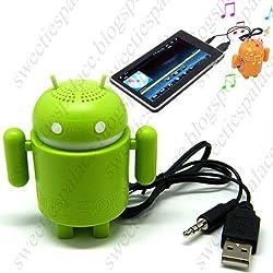 Mini Google Android Robot Audio Speaker Amplifier For Laptop Computer - Green CSK-41780