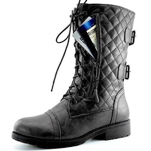 Women's Military Lace Up Buckle Combat Boots Mid Knee High Exclusive Quilted Credit Card Pocket, Black Pu, 8.5