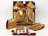 七五三着物 7歳 女の子 金襴の結び帯(大寸)と箱セコペアセット【金】 DPS105