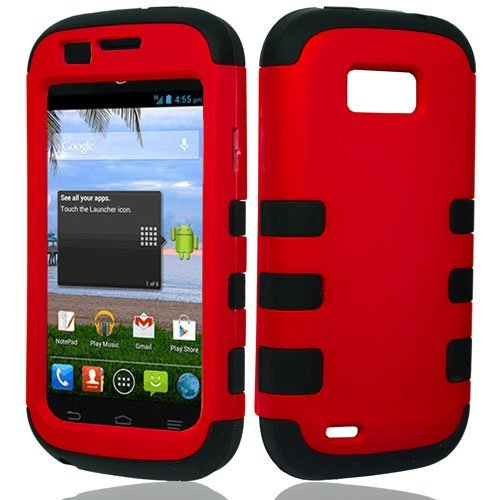 ZTE Emblem Case (Virgin Mobile), LF Hybrid Dual Layer Ribcase, Syulus Pen, Screen Protector & Wiper Bundle (Ribcase Red) (Zte Emblem Phone Virgin Mobile compare prices)