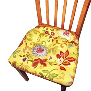 Dining Chair Pad with Ties - Raymond Waites Designer Padma Yellow Floral - Reversible, Tufted Cushion, Box Edge, Longer Lasting Latex Fill - Made in USA
