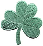 Irish Clover Light Green Embroidered Patch Lucky Shamrock Iron-On Ireland Emblem, Bags Central