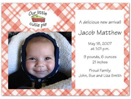 Cutie Pie Birth Announcements - Set Of 20 front-1023766