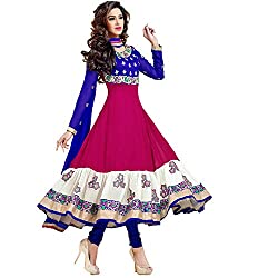 Stutti Fashion Womens Georgette Pink Color Semi Stitched Anarkali Suit