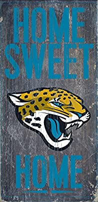Jacksonville Jaguars Official NFL 14.5 inch x 9.5 inch Wood Sign Home Sweet Home by Fan Creations 048432