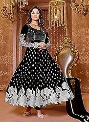 Maruti Creation Women's Georgette Semi-stitched Anarkali Suit Dress Material (MC1010D_FREE_SIZE_BLACK)