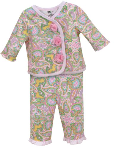Stephan Baby Diaper Cover and Jacket Set with Pink Organza Rosettes, Pretty In Paisley