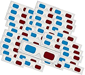 50 Pairs of Red/Cyan Cardboard 3D Glasses - Folded in Protective Sleeve by Islandoffer