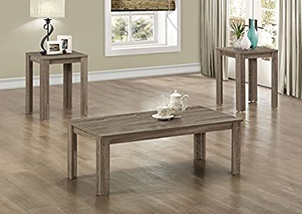 DARK TAUPE RECLAIMED-LOOK 3PCS TABLE SET (SIZE: 44L X 22W X 15H)