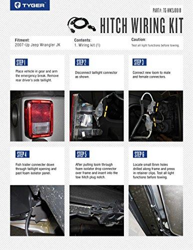 tyger electric wiring kit fits 2007 2016 jeep wrangler jk 2 door 4 door unlimited tow trailer