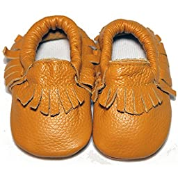 Baby Conda Handmade Yellow Baby Moccasins * 100% Genuine Leather * Soft Sole Slip on Baby Shoes for Boys and Girls * 100% Money Back Guarantee Size 0 - 6 Months