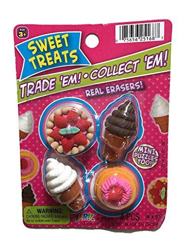 Sweet Treats Dessert Puzzle Erasers ~ Ice Cream Cone, Tart, Shortcake (Ice Cream Cone Erasers compare prices)