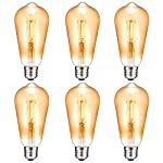 Antique LED Bulb, Oak Leaf 4W ST64 Vintage Antique Style Edison Bulb E26 2200K Warm White LED Light 40W Equivalent, 400lm, Amber Glass, Pack of 6
