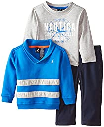 Nautica Baby Boys\' 3 Piece Fleece Long Sleeve Tee Denim Pant Set, Blue, 12 Months