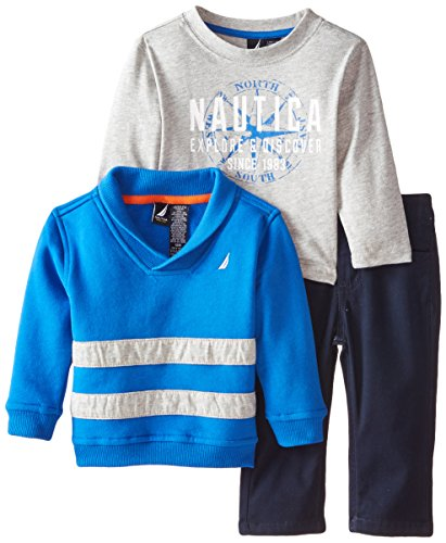 Nautica Baby Boys' 3 Piece Fleece Long Sleeve Tee Denim Pant Set, Blue, 12 Months