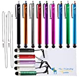 Bundle of 14 Colorful Stylus Universal Capacitive Touch Screen Pen for Ipad 1 2 3 Ipod Iphone 4 4S 3g 3gs Motorola Xoom Samsung Galaxy S2 S3 Tab 8.9 10.1, Blackberry Playbook HTC Flyer Evo View Tablet - 2*15 Inch Stylus Lanyards Included - With The Friendly Swede® Microfiber Cloth In Retail Packaging
