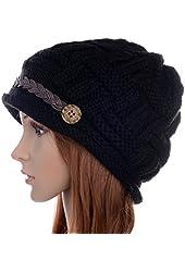 ANDI ROSETM Slouch Beanies Button Hats Knitted Crochet Baggy Skullies Beret Cap Hat for Women Winter Ski Party