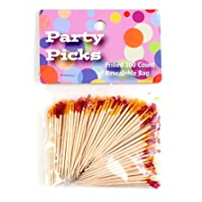 Unique Industries Party Frill Toothpick, Assorted Colors, Set of 200, 10-Pack