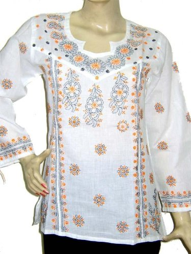 White cotton ladies long sleeve embroidered  tops / tunics / kurta