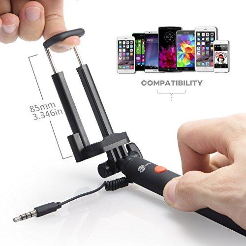 Bastone-Selfie-TaoTronics-Selfie-Stick-Monopiede-Telescopico-Allungabile-controllo-Cable-Nessuna-BatteriaCaricabatterie-necessario-Asta-per-Selfie-per-Smartphone-Android-e-iOS-Pulsante-Unico-di-Scatto