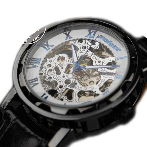 Semi Automatic Pacifistor Mens Mechanical Analog Wrist Watch-Black Case+White Dial