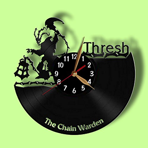 Vinyl Record Clock - LoL Thresh Wall Clock 12 inch (30cm) / Laser cut / League of Legends Champions Wall Decor / Recycled Vinyl Record (Black middle - Arabic digits) (Champions League 15 Album compare prices)