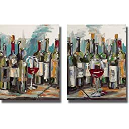 Uncorked I & II by Heather French-Roussia 2-pc Stretched Canvas Set (Ready-to-Hang)