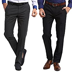 Marco USA Mens Stylist Formal Trouser Pack of 2, Regular Fit, Cotton Blend