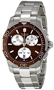 Victorinox Classic 241502 - Reloj de mujer con cronógrafo (caja de acero inoxidable), color plateado y marrón