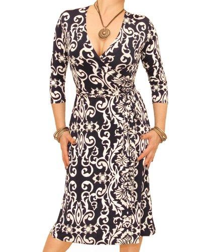 Blue Banana - Navy and Ivory Print Wrap Dress US Size 14