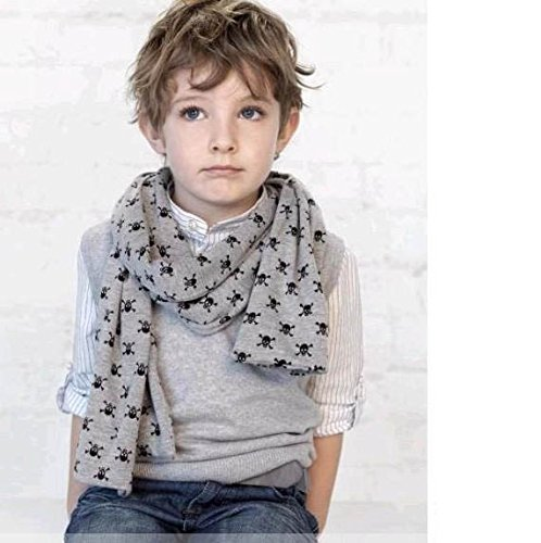 S Cloth Baby Fashion Skulls Print Scarves,Double-Deck Scarf ,Boys Cotton Muffler Children Scarf Kids Neckerchief