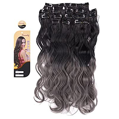 "Creamily® Natural Black to Dark Grey 2-tone Ombre Color Wavy Clip in Hair Extensions 8 Pieces 18"" for a Full Head"
