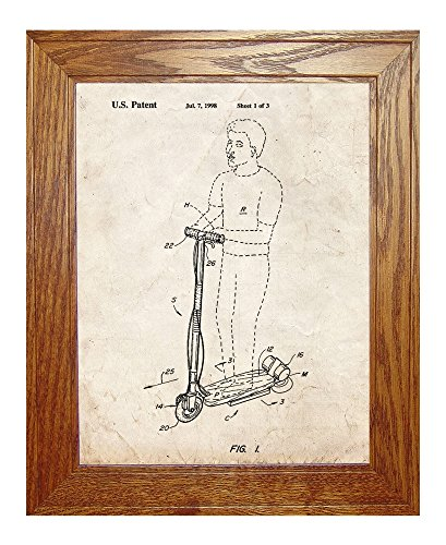 "Hoverboard Goped Electric Scooter Patent Art Old Look Print In A Honey Red Oak Wood Frame (8.5"" X 11"")"