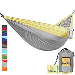 FLASH SALE The Ultimate Single Double Camping Hammocks- The Best Quality Camp Gear For Backpacking Camping Survival Travel- Portable Lightweight Parachute Nylon Ropes and Carabiners Included DO Grey & Yellow DoubleOwl