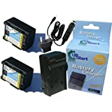 2x Pack - Canon BP-808 Battery + Charger with Car & EU Adapters - Replacement for Canon BP-808 Digital Camcorder Battery and Charger (Decoded, 890mAh, 7.4V, Lithium-Ion)