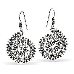 Jaipur Mart Handmade Light Weight Partywear Silver Oxidised Dangle & Drop Earrings For Women (Silver, Queen,1 Pair)