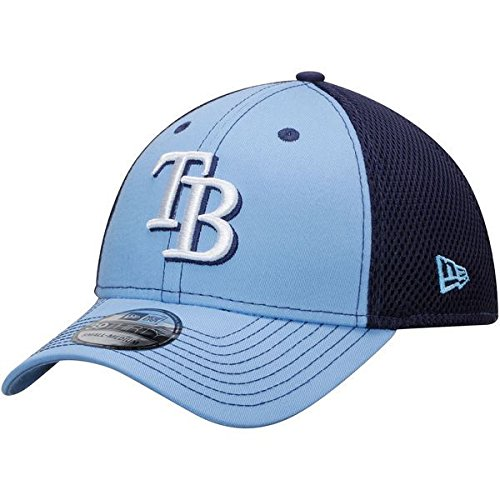 Men's Tampa Bay Rays New Era Light Blue/Navy Team Front Neo 39THRITY Flex Hat (Large/X-Large)