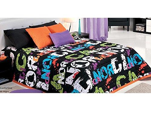 Textilhome - Colcha Bouti NORDIC color NEGRO cama de 105cm
