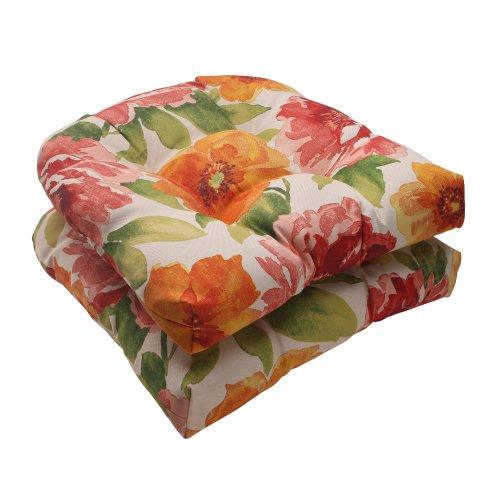 Pillow Perfect Indoor/Outdoor Primro Wicker Seat Cushion, Orange, Set of 2 photo