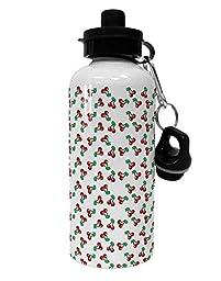 TooLoud Cherries Everywhere Aluminum 600ml Water Bottle - White All Over Print