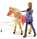 Brigamo 544 - Elektrisches Pferd, voll beweglich, inkl. Sound, Reitpferd mit Puppe (violet dress) thumbnail