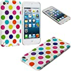 myLife (TM) White + Rainbow Polka Dotted Series (Silicone Flex Grip Gel) Slim Soft Case for Apple iPod 5 (5G) 5th Generation iTouch (Silicone Bumper Flexible Gel Protector)