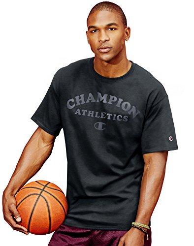 Champion Men`s Cotton-Rich Graphic T Shirt, GT81, S, Black/Champion Athletics